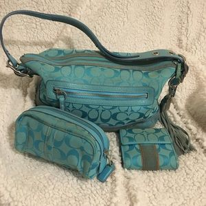 Coach handbag, cosmetic bag & billfold